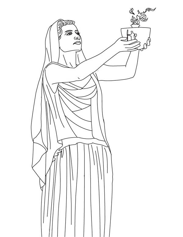 Hestia From Greek Gods And Goddesses Coloring Page