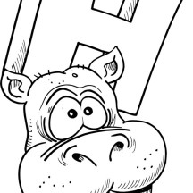 Hippo Head Picture Coloring Page
