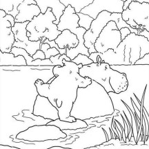Hippo Swim in the River Coloring Page
