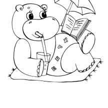 Hippo on Vacation Coloring Page