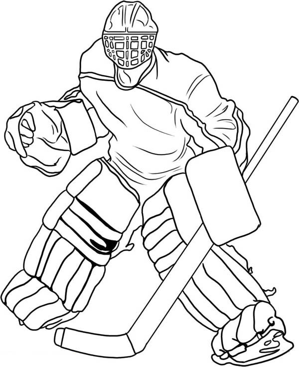 Hockey Goal Keeper Player Costume Coloring Page - NetArt