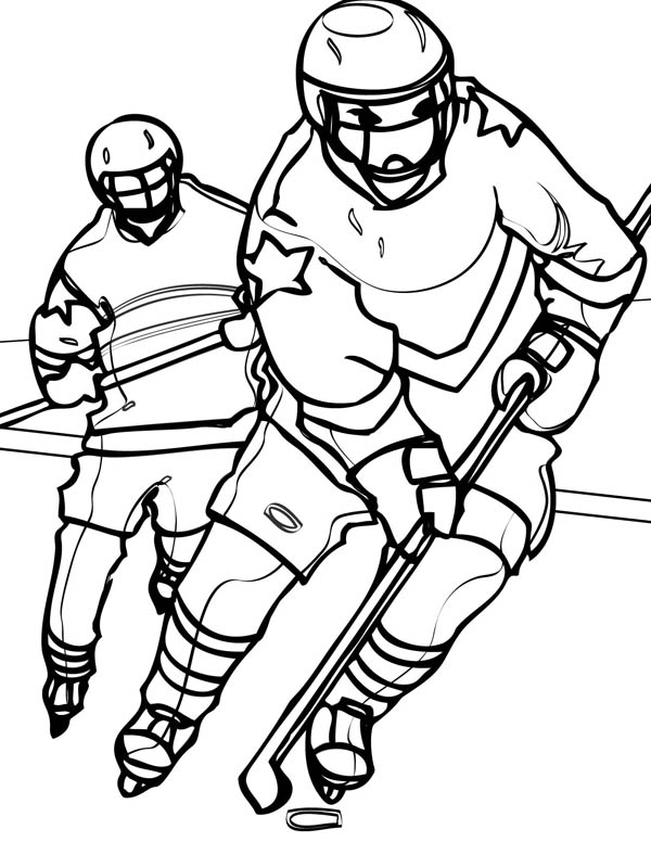 Hockey Player Chasing An Opponent Coloring Page
