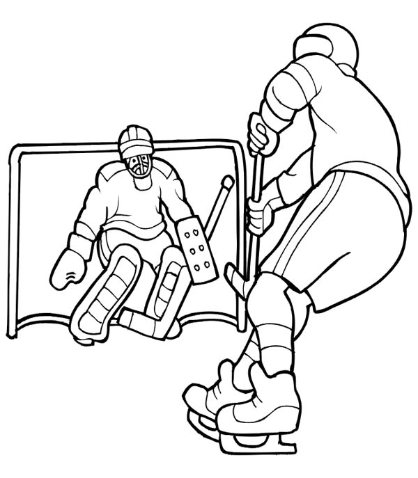 Hockey Player Solo to Opponent Goal Coloring Page - NetArt
