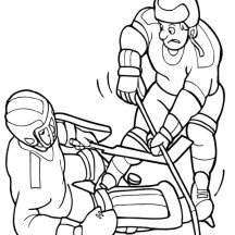 Hockey Player Try to Get the Puck Back Coloring Page
