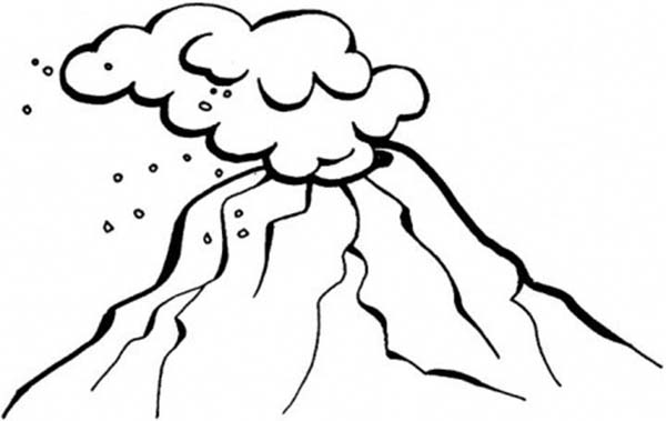 hot ash cloud of volcano coloring page - Volcano Coloring Pages