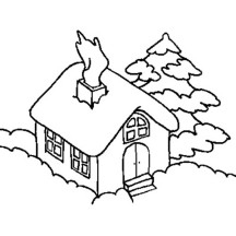 House Covered by Snow in Houses Coloring Page