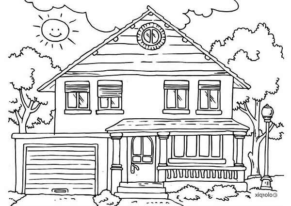 house front yard in houses coloring page - Coloring Pages Of Houses