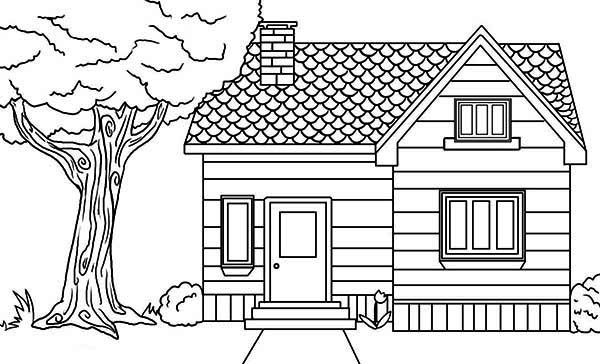 house in the village in houses coloring page