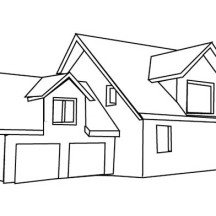 House with Double Garage in Houses Coloring Page