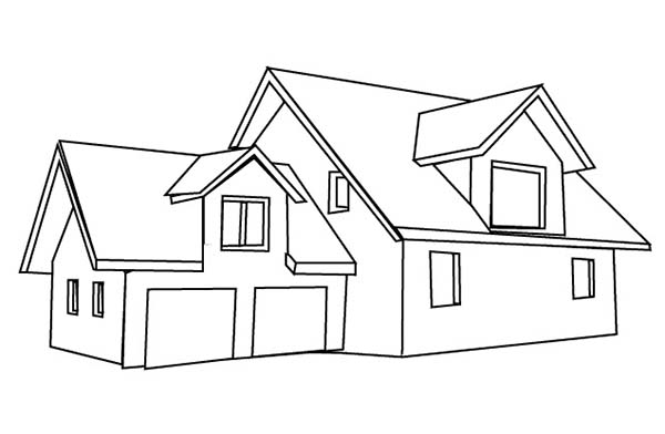 house with double garage in houses coloring page - Coloring Pages Of Houses