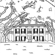 House with a Lot of Tree in Houses Coloring Page