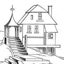 Houses on the Hill Coloring Page