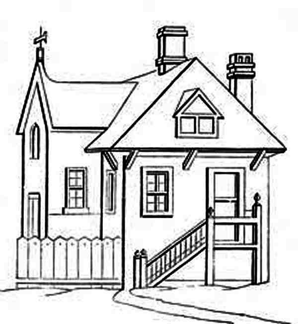 Houses with in Front of Stair Coloring Page