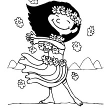Hula Dancing in Hawaiian Coloring Page