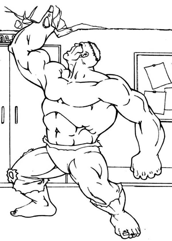 Hulk Destroying Ceiling Coloring Page