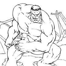 Hulk Jumping from the Bridge Coloring Page