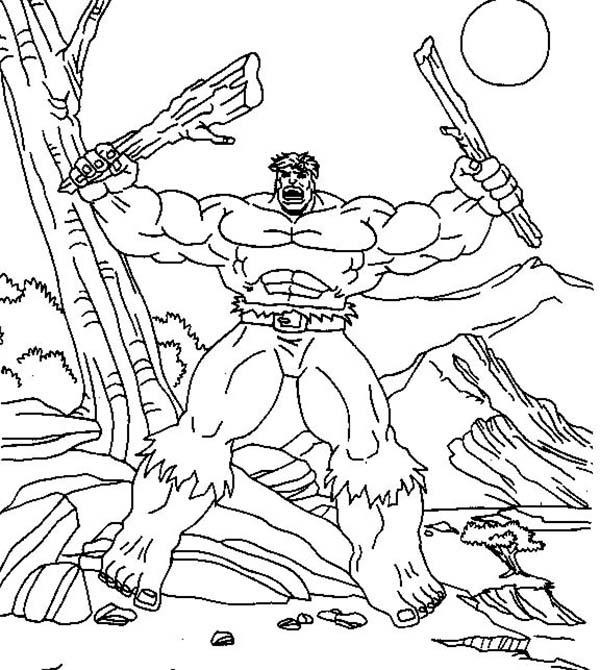 Hulk Tearing Tree Branch Coloring Page
