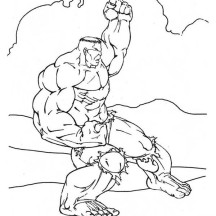 Hulk Try to Defend from Enemy Coloring Page