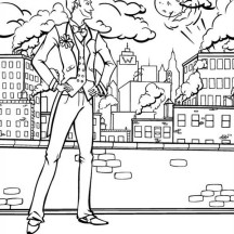 Joker Watching Gotham City Coloring Page