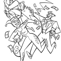 Joker and Harley Quinn Pursued by Batman Coloring Page