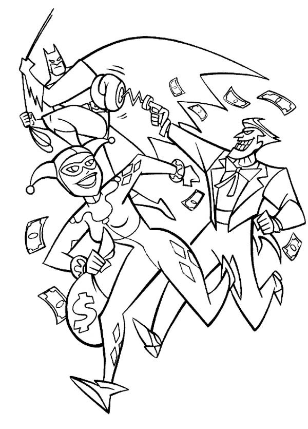 Joker and Harley Quinn Pursued by Batman Coloring Page NetArt