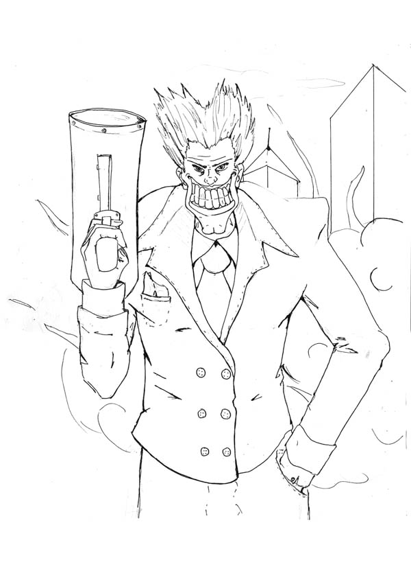 Joker With Big Smile And Big Gun Coloring Page Netart