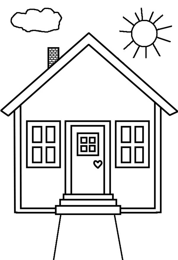 Kid Drawing of House in Houses Coloring Page - NetArt
