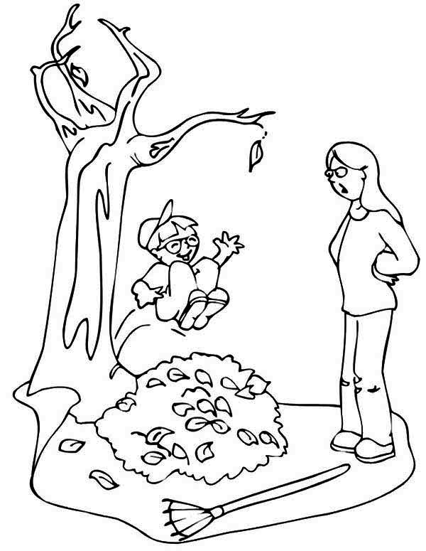 Kid Jumping to Pile of Fall Leaf Coloring Page - NetArt