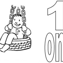 Kid Playing Swing and Number One Coloring Page