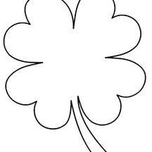 Kids Drawing of Four-Leaf Clover Coloring Page