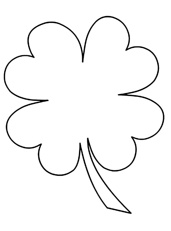 kids drawing of four leaf clover coloring page