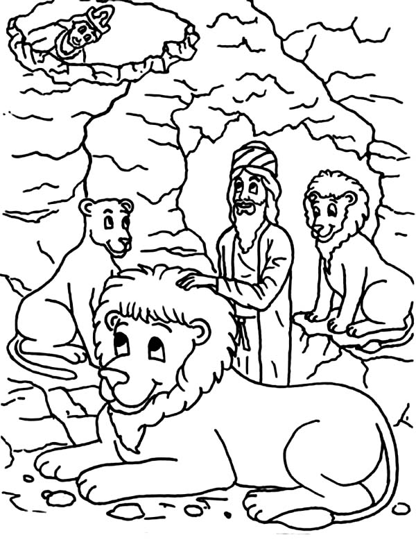 King Darius Put Daniel Into Lions Den In And The Coloring Page
