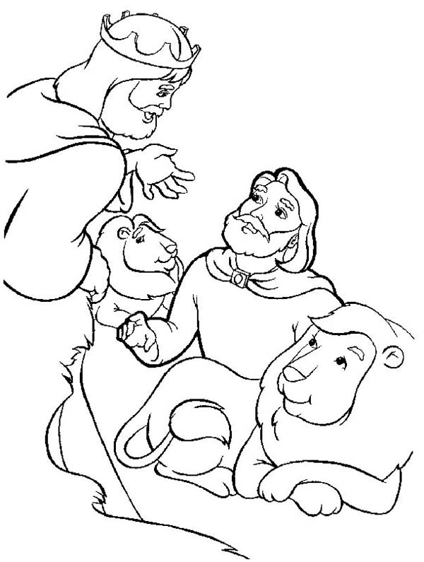 King Darius Release Daniel in Daniel and the Lions Den Coloring Page