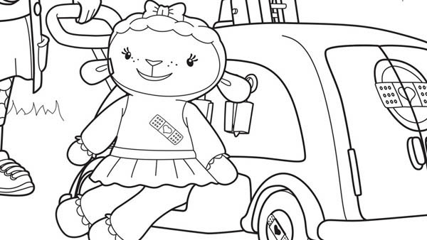 Lambie and Car in Doc McStuffins Coloring Page  NetArt