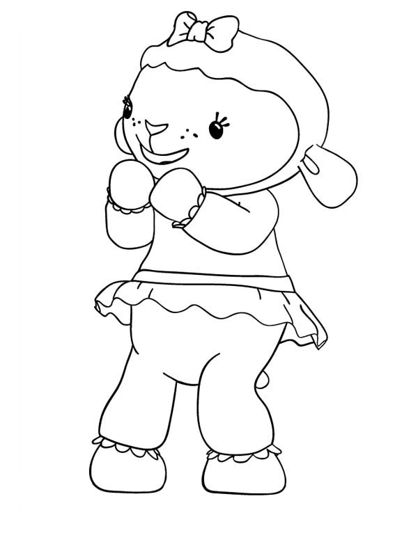 Lambie the Lamb is Happy in Doc McStuffins Coloring Page NetArt