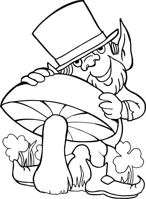 Leprechaun Loves Mushroom for St Patricks Day Coloring Page