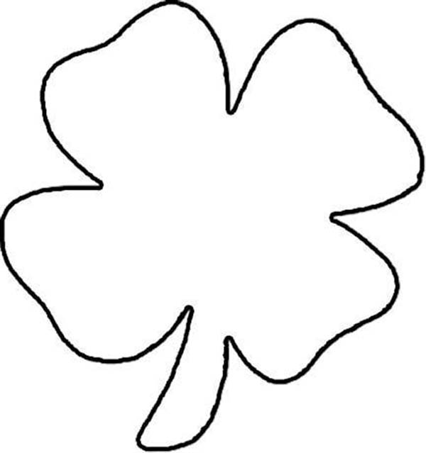 lets draw four leaf clover coloring page