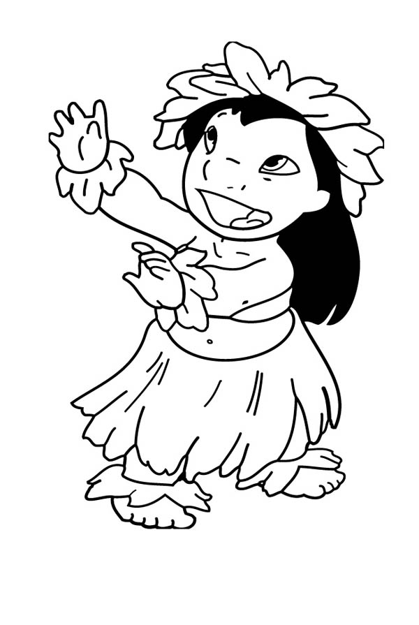 lilo is hawaiian lovely girl coloring page - Hula Girl Coloring Page