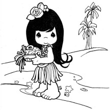 Little Cute Hawaiian Girl Coloring Page