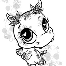 Little Cute Hippo Coloring Page
