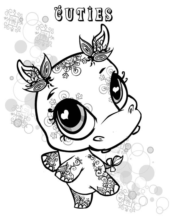 Little Cute Hippo Coloring Page NetArt
