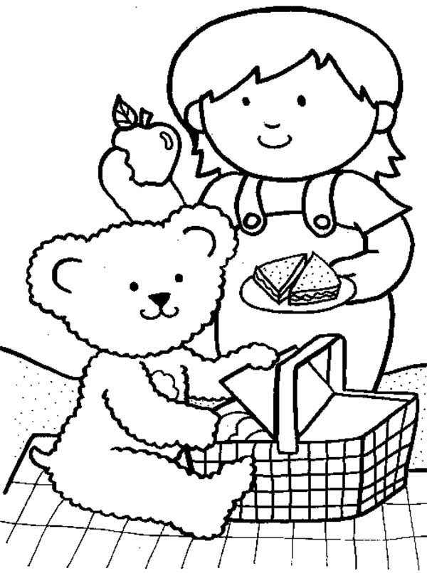 Little Girl Going Picnic with Her Teddy Bear Coloring Page NetArt