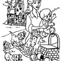 Little Kid Picnic with His Dalmatians Dog Coloring Page
