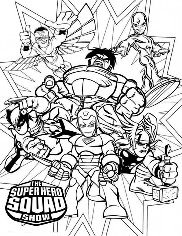 Magnificent Super Hero Squad Coloring Page NetArt