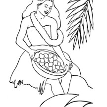 Making Hawaiian Flower Lei Coloring Page