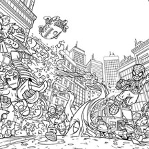 Marvel's Super Heroes Saving Each Other in Super Hero Squad Coloring Page