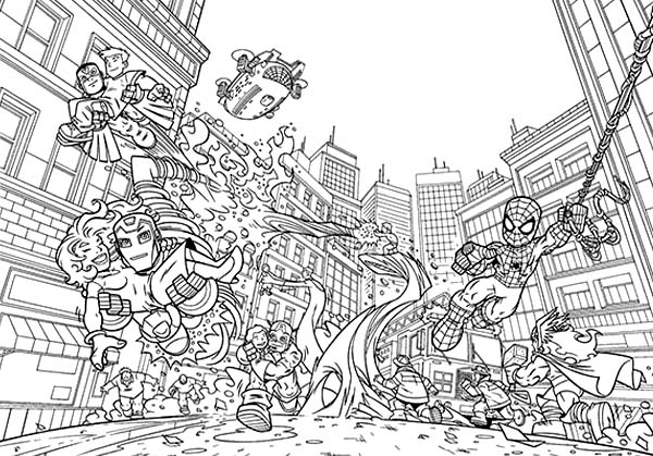 marvels super heroes saving each other in super hero squad coloring page