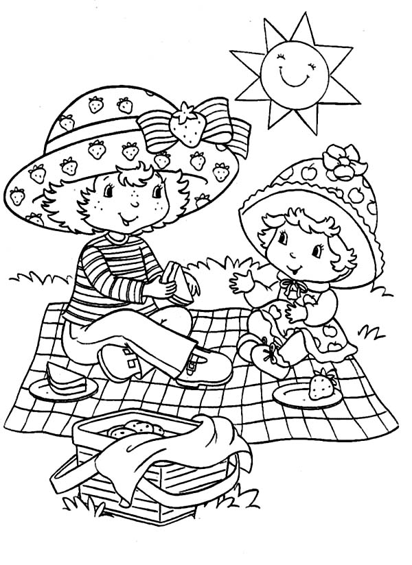 Mother and Baby Picnic Coloring Page  NetArt