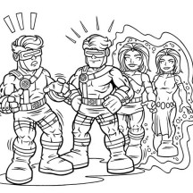 Mystique Copying Cyclops in Super Hero Squad Coloring Page