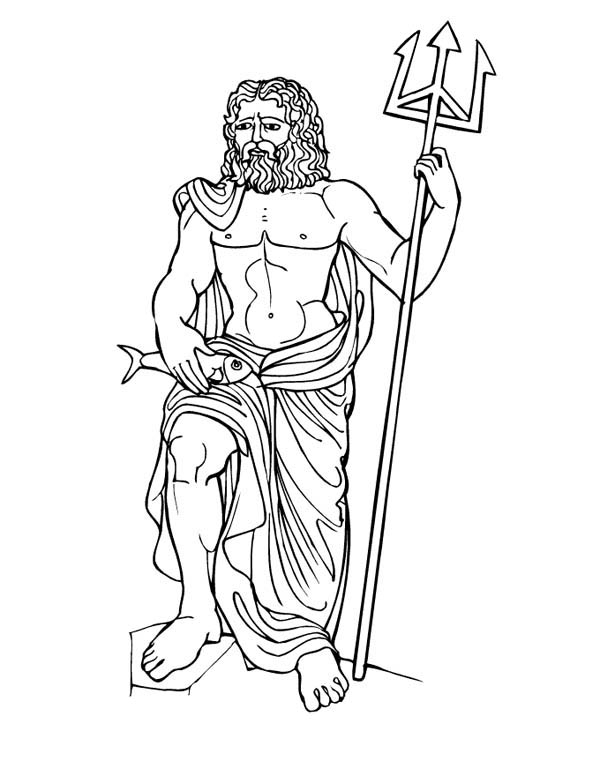 Myths God Poseidon From Greek Gods And Goddesses Coloring Page